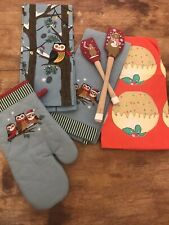 Lot Of Christmas Kitchen Towels Spatulas Nwot Owls Oven Mitt