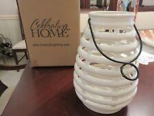 Celebrating Home Interiors White Ceramic Hatteras Candle Lantern 46013 Beehive