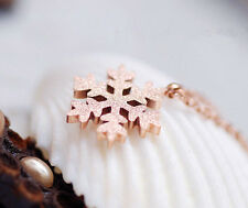 18K Rose Gold Filled Women Girls Cute Snow Snowflake Pendant Necklace Lovely