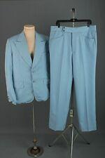 Men's 1970s Blue Pinstripe Polyester Leisure Suit Jacket M Pants 36x34 70s Vtg