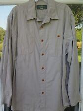 Orvis Long Sleeve 100% Cotton Khaki Quilted Hunting Safari Shooting Shirt Medium