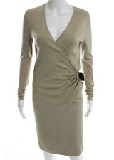 RALPH LAUREN BLACK LABEL Khaki Silk Long Sleeve V Neck Buckled Pencil Dress Sz S