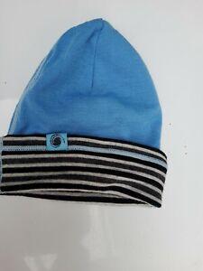 Black White Blue Double Layer Merino Wool Kids Beanie Hat One Size VGC