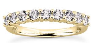 0.45 ct 11 Round Diamond Ring 14k Yellow Gold Shared prong Anniversary band #318