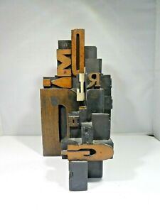 MID CENTURY MODERN JOHN MYRACLE WOOD LETTERPRESS TABLE SCULPTURE LISTED