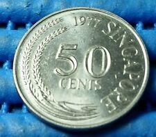 1977 Singapore 50 Cents Lion Fish Coin