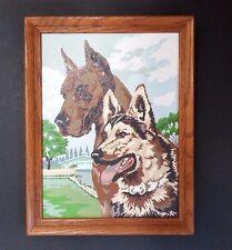 1959 Great Dane And German Shepherd Paint By Number Craftint 12x16 Oak Frame Mcm