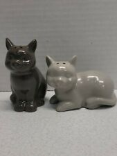 Kitty Cat Ceramic Stoneware Salt And Pepper Shakers Grey Feline Collectibles