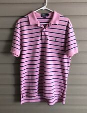 Ralph Lauren men's M baby pastel pink & blue stripe short sleeve polo shirt