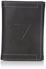 NEW GUESS MEN'S LEATHER CREDIT CARD ID WALLET PASSCASE TRIFOLD BLACK 31GO11X009