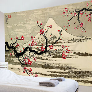 Fuji Mountain Cherry Tree Ink Painting Tapestry Wall Hang Living Room Bedroom