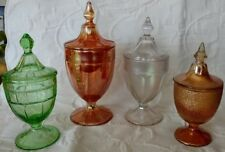 Antique Variety Gorgeous Depression Glass Pedestal Lidded Candy Dishes, Perfect