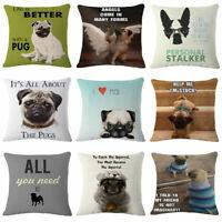 Lovely Pugs Printed Linen Throw Pillow Case Cartoon Dog Cushion Cover Sofa Decor