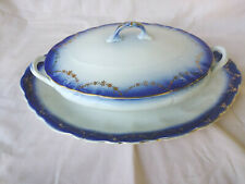Flow Blue 3 pc LOT H R Wyllie Casserole/Serving DIsh Lid & Platter Gold Garland