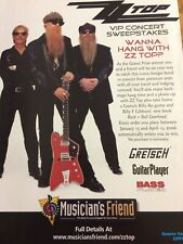 Zz Top, Gretsch Guitars, Full Page Vintage Promotional Ad