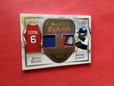 DR J JULIUS ERVING REGGIE JACKSON GAME USED JERSEY PATCH CARD #20 LEAF ENSHRINED