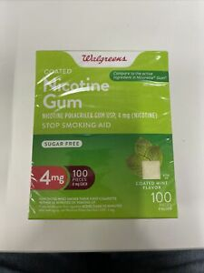 Walgreens Nicotine Gum, Stop Smoking Aid, 4mg, Coated Mint, 100pcs, Exp:01/2023