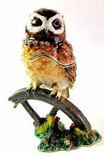 Owl on Wheel Jewelled Trinket Box or Figurine