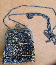 "beaded black silk handbag with silver snap closure and 24"" Chain Shoulder Strap"