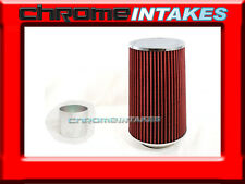 "RED UNIVERSAL 3"" TALL FLANGE DRY AIR FILTER FOR CHEVY AIR INTAKE+PIPE"
