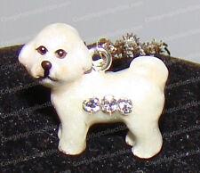BICHON FRISE Bejeweled Enamel Charm (Pedigree Dog Pendent, 3933bn) Silver Chain
