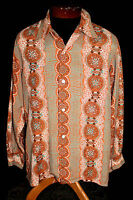 """EXCEPTIONAL COLLECTABLE QUALITY VINTAGE 1950'S SILKY RAYON PRINT SHIRT """"ENRO"""" L+"""