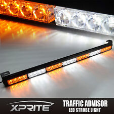 "Xprite 31"" 28 LED Emergency Strobe Light Bar Traffic Advisor- Amber & White"