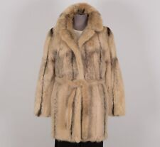 Women's Real Natural Fur Winter Coat Size S Small Beige Gray RICH'S