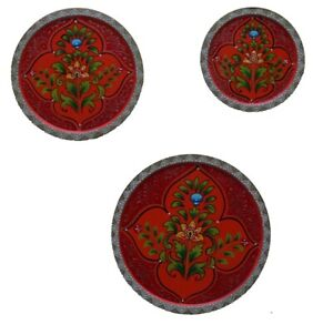 Wooden Red Painted Fine Embossed,Wall Set Of Three Plates,Home And Living Decor,