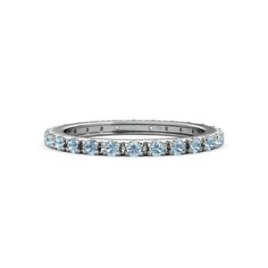 Aquamarine French Set Womens Eternity Ring Stackable 0.55 ctw* 14K Gold JP:10157