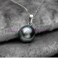 Prety 14mm South Sea Black Shell Pearl Necklace Pendant Jewelry