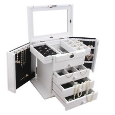 White Large Wooden Jewellery Boxes Rings Storage Case Necklace Display Organiser