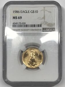 1986 Gold Eagle $10 - NGC MS69 - 1/4 oz gold - brown label