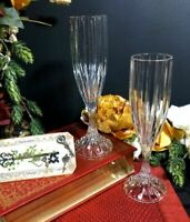 Mikasa Park Lane Champagne toasting flutes vintage Crystal Blown Glass Set 2