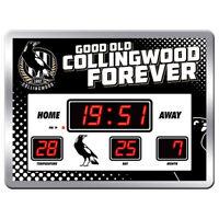 AFL Scoreboard LED Clock - Collingwood Magpies - Date Time Temp - Gift Box