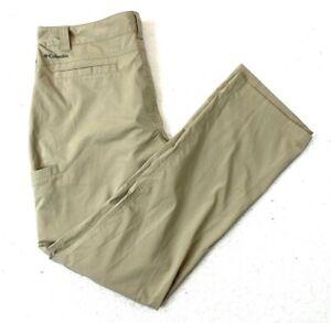 Mens Columbia Omni Shade Hiking Pants Regular Fit Khaki Size 38 x 34 Excellent