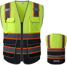 Reflective Mesh Safety Vest High Visibility Multi Pockets Breathable Workwear