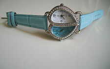Women's Blue/Silver 2 time zone dual time heart shape leather band fashion watch