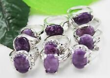 wholesale 10pcs Thick Silver mixed natural amethyst Gemstone rings Jewelry 6-10