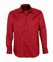 mens RED shirt smart stretch casual office work Sols Brighton S M L XL Designer