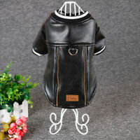 French Bulldog Leather Dog Clothes Coat Waterproof Jackets Winter Apparel Black