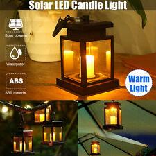 Waterproof Solar LED Lantern Candle Lights Outdoor Hanging Yard Garden Lamp