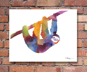 "Sloth Abstract Watercolor 11"" x 14"" Art Print by Artist DJ Rogers"