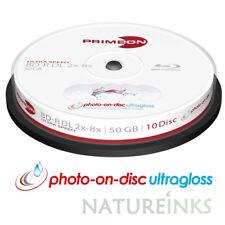 10 Primeon 2761312 Ultra Gloss Printable Blank Blu Ray DL BDR Discs 50GB 2x - 8x