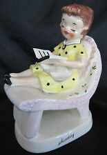 "Vintage Ucagco Sunday Housewife Day of the week Figurine, Japan 5"" Tall, VGC"