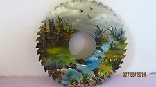 9 3/4 Inch metal Artist Saw Blade Hand Painting of country scene