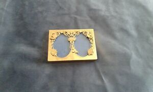 SOLID BRASS LAQUERED MACK  MINIATURE DOUBLE OVAL FLOWER AND BIRD PHOTO FRAME