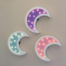 Moon Wooden Led Night Lights Decor Table Lamps Nursery Kid's Room Battery Power