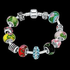 925 Sterling Silver Murano Glass CZ Crystal Charm Womens Bracelet + Box BL138