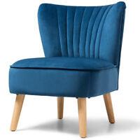 Armless Accent Chair Modern Velvet Home Chair Single Sofa Upholstered Blue